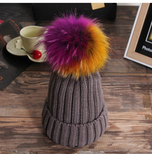 2016 New Brand Winter 100% Real big colorful Raccoon Fur Hats Knitted Wool With Gunuine Fur Pompom Beanies Hat Cap For women