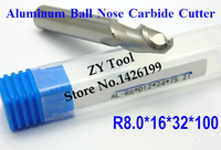 새로운 알루미늄 합금 볼 엔드 밀링 커터 2f r8 * 16*32*100 알루미늄 카바이드 커터  cnc 밀링 머신  cnc 밀링 도구
