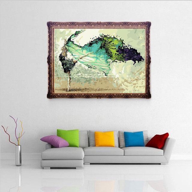 New framed digital oil painting by numbers diy home decoration craft paint on canvas unique gift picture dance green girl