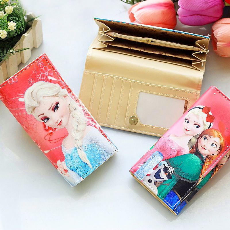 Disney Cartoon Princess Frozen Elsa And Anna Wallet Cute Student Lady Storage Coin Purse PU Sophia