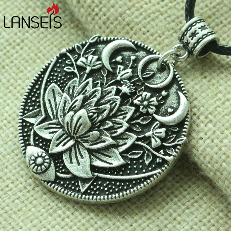 lanseis 1pcs 3D Lotus eyes moon pendant Prettiest women lotu Mandala flower necklace Phase Lotus Meditation Yoga jewelry indian mandala paisley lotus shape beach throw