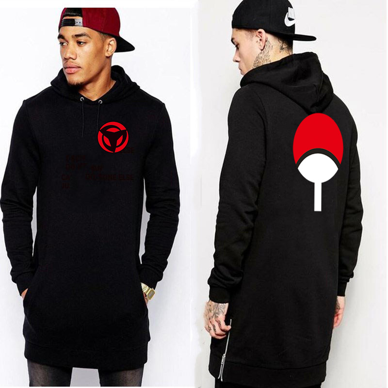 2018 New Extended Hem Zipper Naruto Hoodie Sweatshirt Polerones Hombre Sweatshirts Men Hip Hop Streetwear Dragon Ball Hoodies