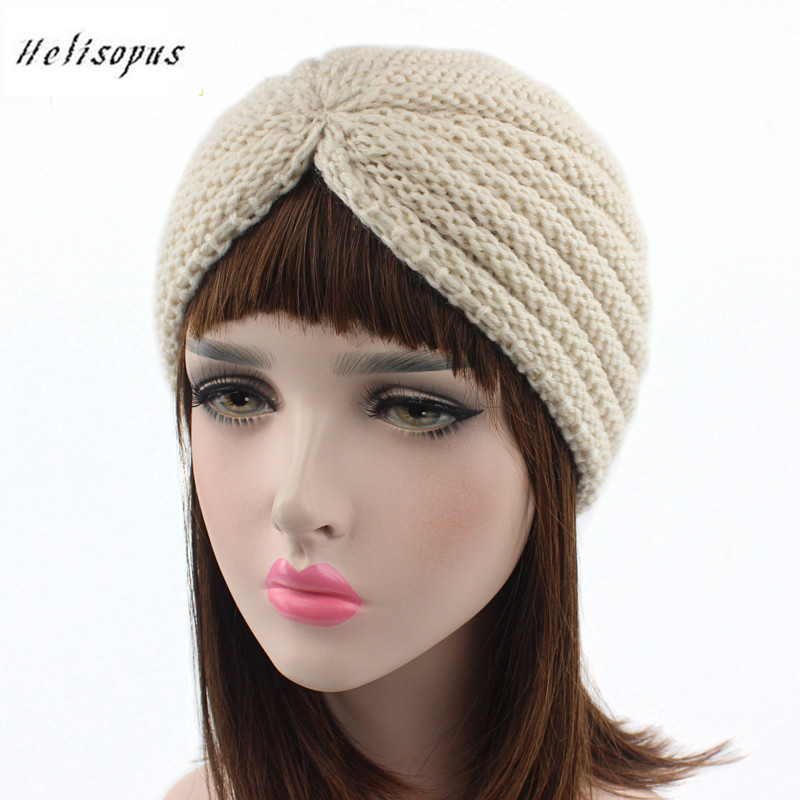 Helisopus Women New Fashion Knitted Hat Cap Headdress India Hat Ladies Hair Accessories Crochet Turban Women Head Wraps