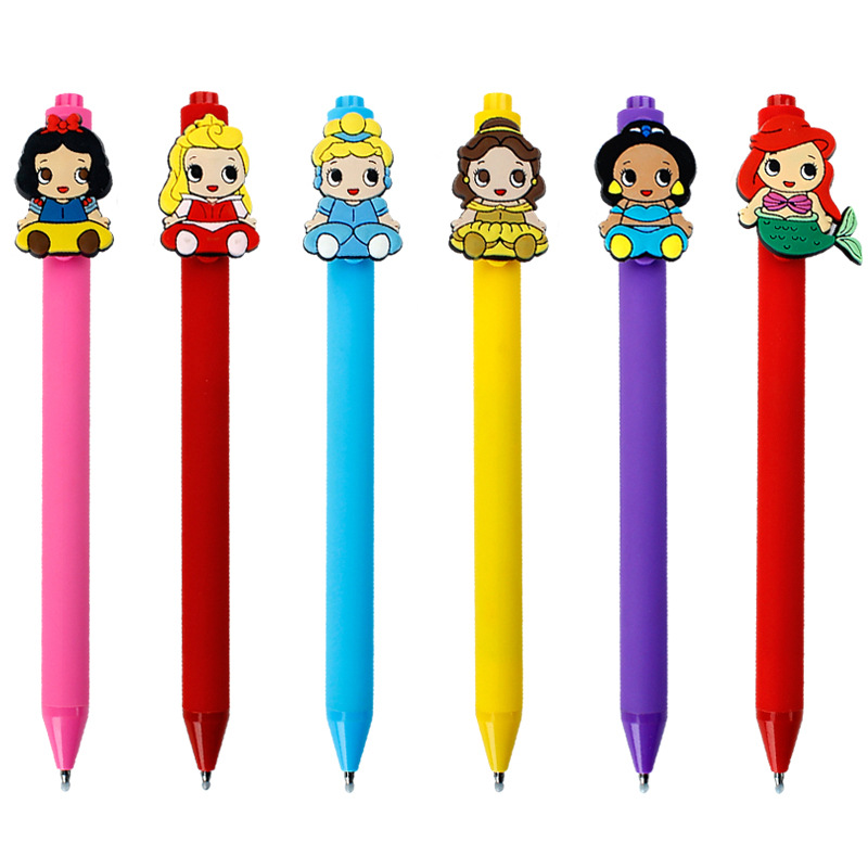 36pcs lot creative cartoon characters Princess Frosted barrel Candy color black ink gel pen girls gift