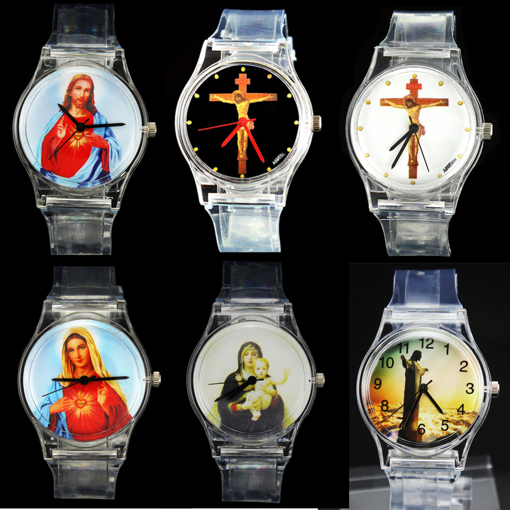 Tuhan Kristus Cross Virgin Mary Madonna Sacred Heart of Jesus Brazil Redentor Christian Easter Watch Religius Quartz Watch