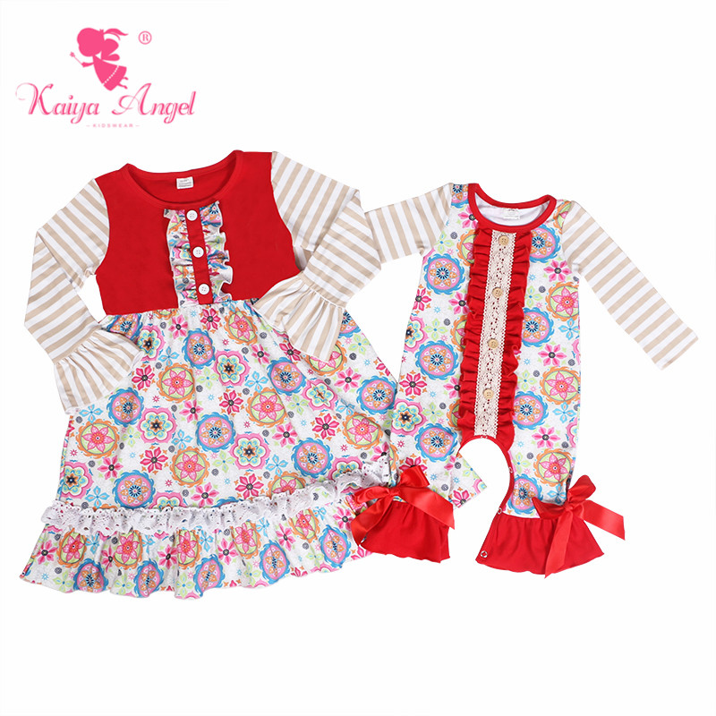 e9e072c2ff21 Kaiya Angel New Arrival 2018 Toddler Girl Costume Fall Winter Baby Ruffle  Romper Circle Flower Red Bow Popular Newborn Clothes