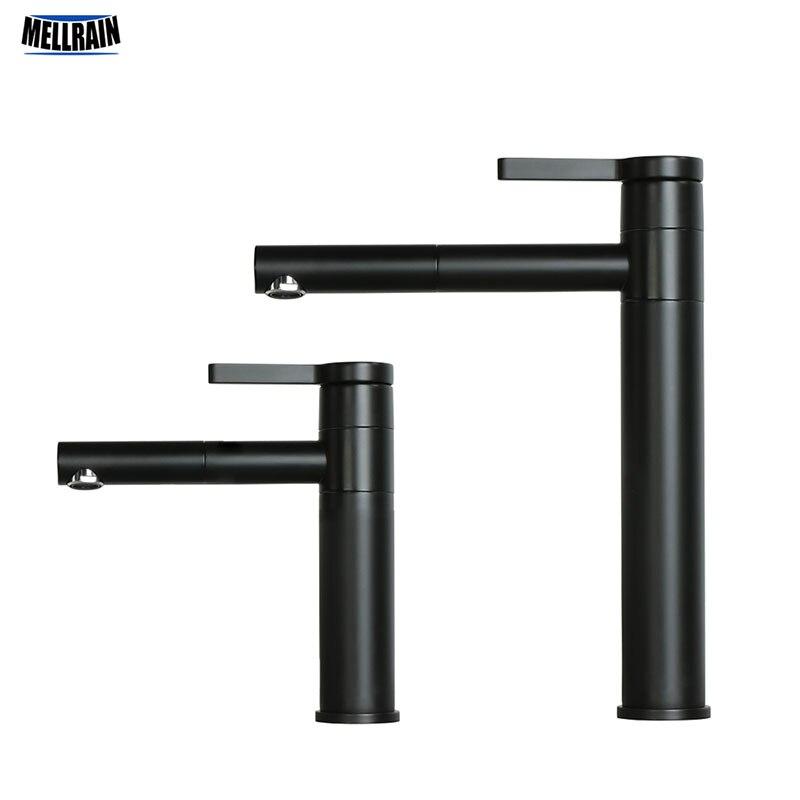 Couleur noire qualité laiton bassin robinet Double Position rotatif salle de bain robinet chaud et froid blanc mélangeur eau robinet grand et court