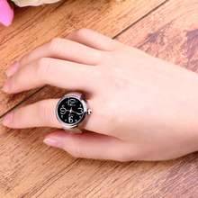 1pcs Jewelry Creative Fashion Steel Round Elastic Quartz Finger Ring Watch Lady Girl Christmas gift Wholesale