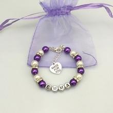 New name Personalised Girl baby Birthday Christmas Gift Charm Bracelet purple with bag