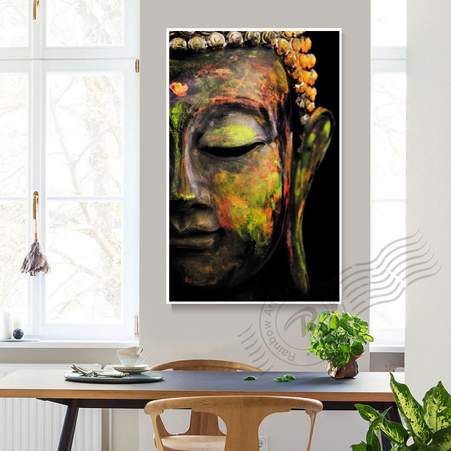 modern abstract buddha buda buddhism canvas painting cuadros decoracion wall art for living room print on - Decoracion Budista