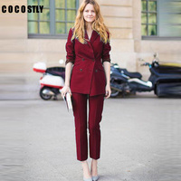 Work Pant Suits OL 2 Piece Sets Double Breasted Striped Blazer Jacket & Zipper Trousers Suit For Women Outfits Feminino