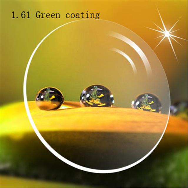 1.61 revestimento verde Personalizado óculos de Miopia Prescrição míope lente mulheres desconto dos homens óculos de lente Ótica lente eyewear