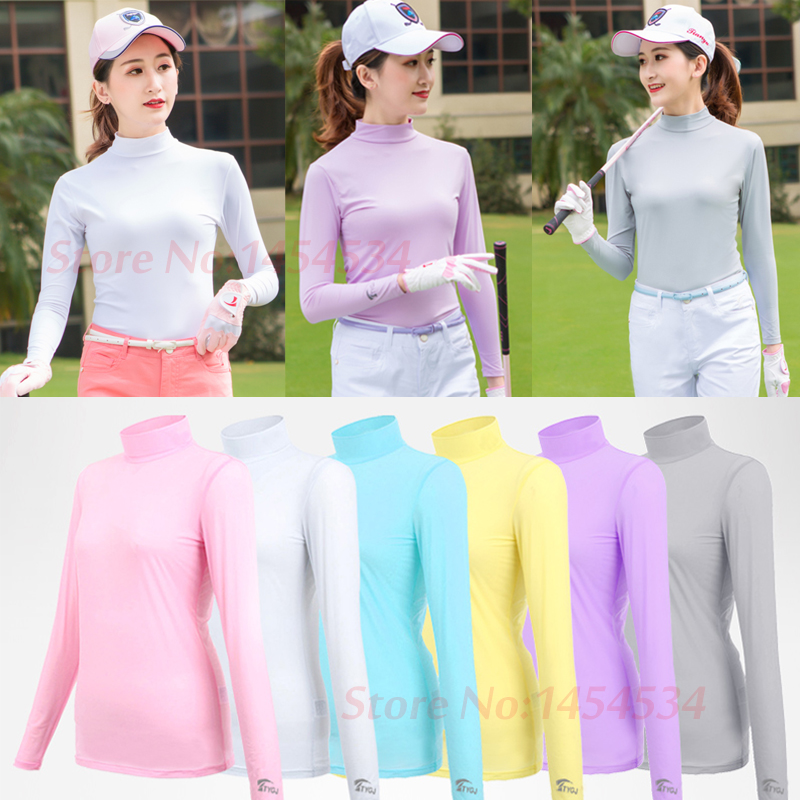 Ultra-cool Sunscreen Lady Long Sleeved T-shirt Bottoming Coat Functional Summer Ice Silk Jersey Outdoor Sport Golf/Tennis/ Shirt