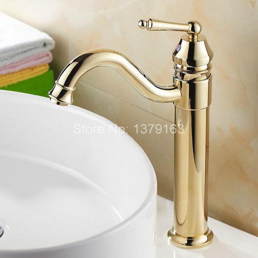 single hanlde modern gold plated brass kitchen sink faucet single lever mixer tap swivel spout agf055 - Brass Kitchen Sinks