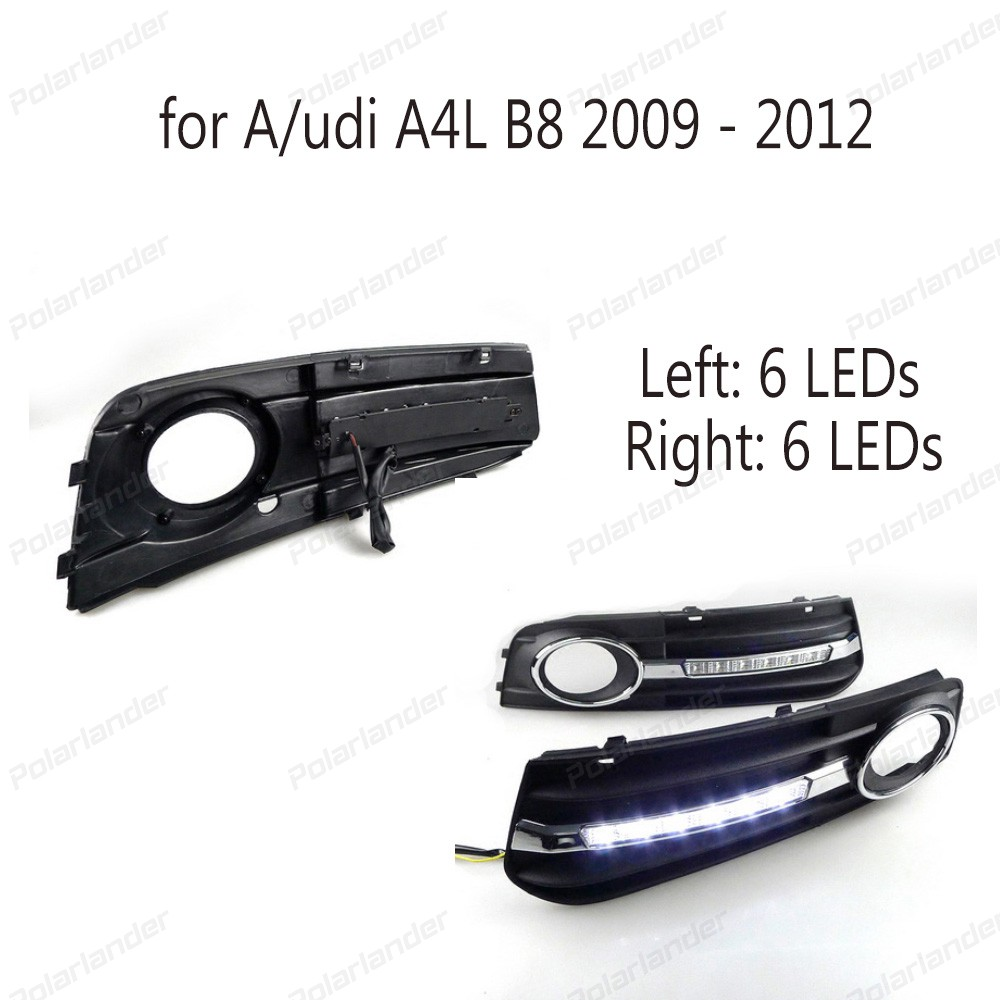 цены  2017 NEW arrival 12V LED car DRL For A4 A4L B8 2009-2012 daytime running lights with fog lamp hole bright chrome style