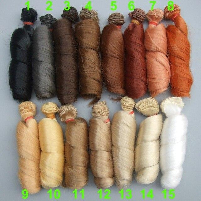 1 pieces Extensão perucas boneca 15*100 cm Cor Natural Curly cabelo para BJD boneca SD Russo roupas feitas à mão perucas de boneca