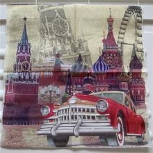 Decoupage papel para mesa servilleta pañuelo elegante vintage toalla roja coche Iglesia cumpleaños boda fiesta hogar hermosa decoración 20