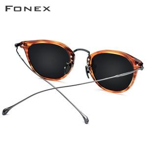 Image 4 - FONEX PURE BไทเทเนียมAcetateแว่นตากันแดดPolarizedผู้ชายใหม่แฟชั่นDesigner VINTAGEสแควร์ดวงอาทิตย์แว่นตาผู้หญิง 839