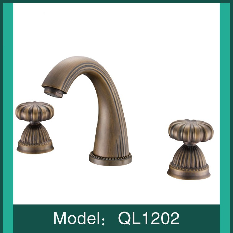 Antique plated solid brass bathroom sink faucet Art basin mixer faucet Cold hot water tap with pipe,High quality