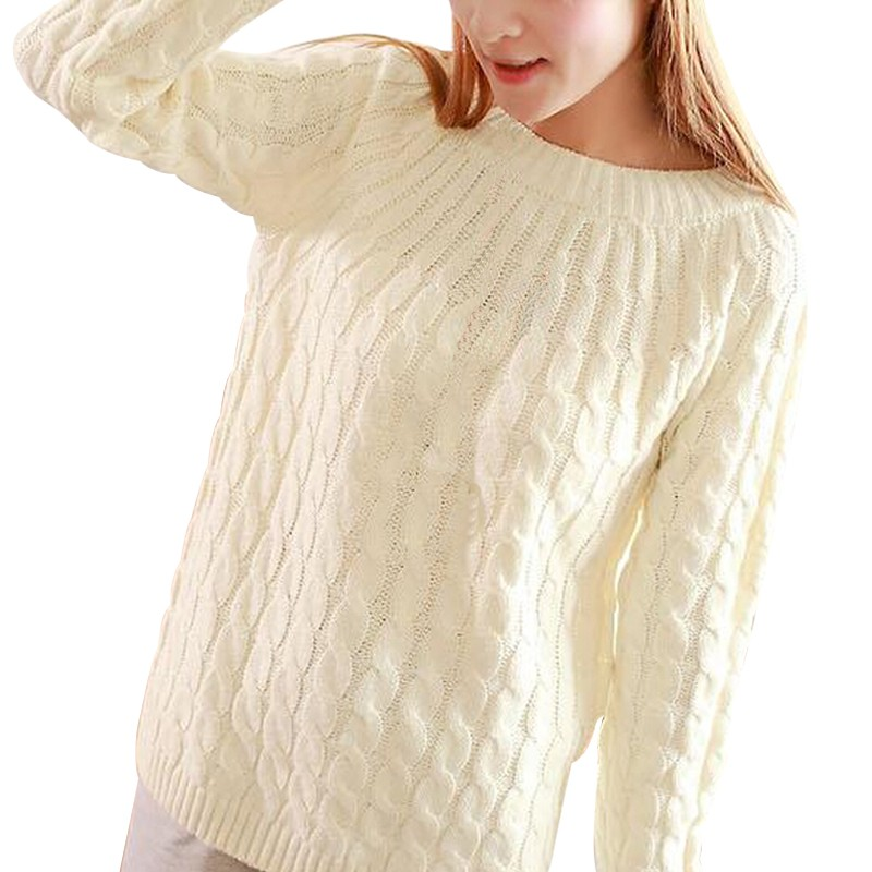 Women Sweater Pullovers Fashion Casual Long Sleeve O-neck Twist Knitted Christmas Sweter Casacos Femininos