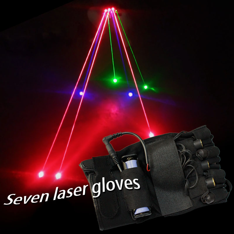 green, red and purple seven fingers stage props laser gloves club DJ club stage props A laser gloves 650nm*3 532nm*2 405nm*2 laser sword of the double head laser sword cu guangzhu stage performance props laser rod 100mw
