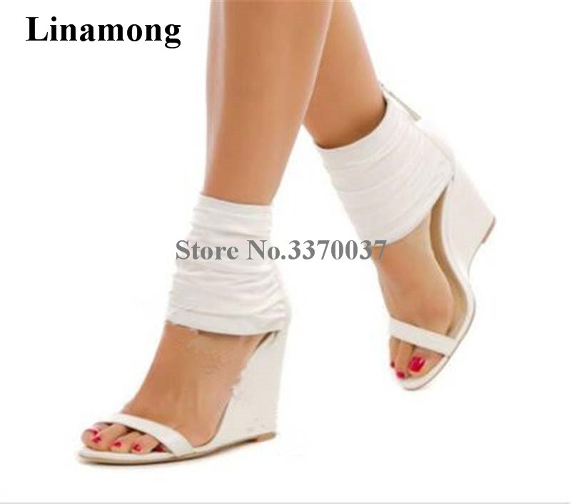 2018 New Fashion Women White Leather One Strap Wedge Sandals Back Zipper-up Ankle Wrap High Sandals Wedge Shoes2018 New Fashion Women White Leather One Strap Wedge Sandals Back Zipper-up Ankle Wrap High Sandals Wedge Shoes