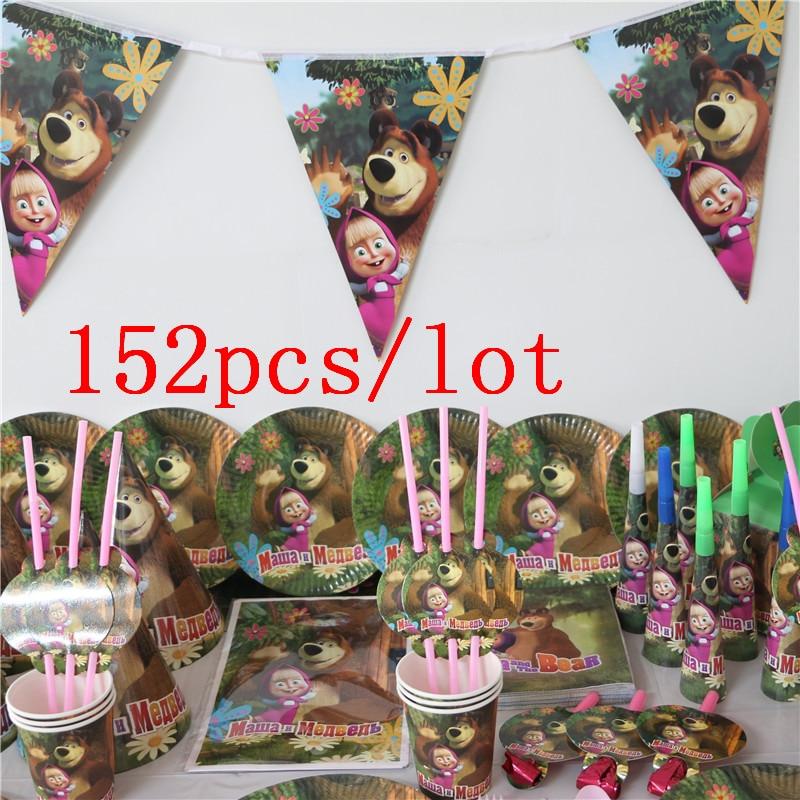 152 Pcs/Lot Masha Et Ours Thème Jetable Vaisselle Ensembles Enfants de Jour D'anniversaire D'enfants Décoration Événement Fournitures Divers Maker