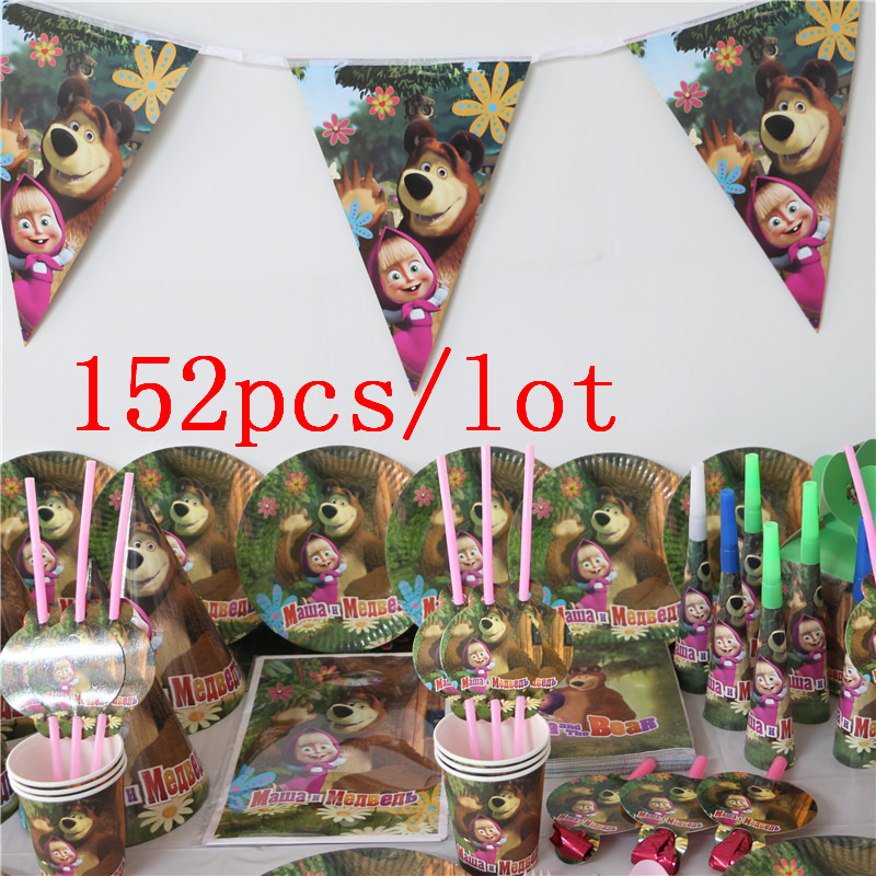 152Pcs Lot Caroon Masha and bear Theme Disposable Tableware Sets Children s Day Kids Birthday Decoration