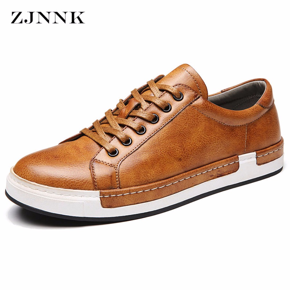 ZJNNK Men Leather Shoes Soft Men Fashion Shoes Factory Outlets Chaussure Homme Lace-Up Good PU Men Casual Shoes Big Size 556