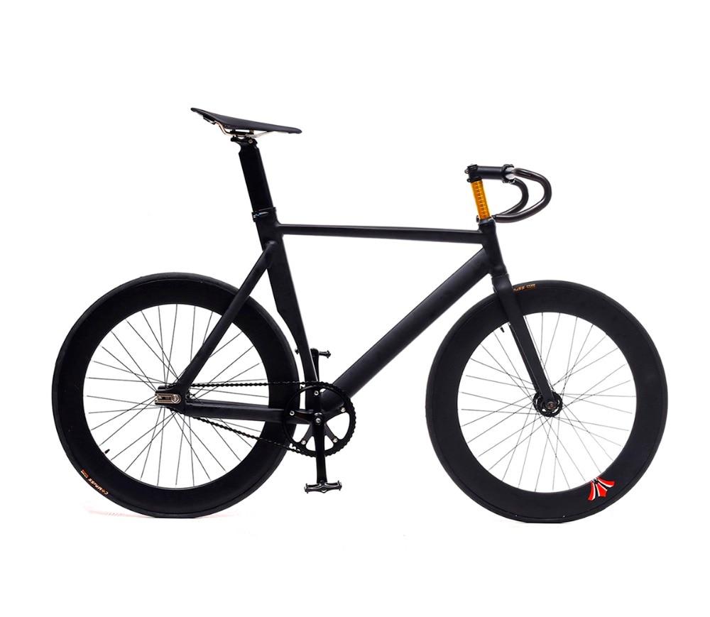 Fixed Gear Bike Fixie Frame 53cm 55cm 58cm  DIY 700C Muscular Aluminum Alloy Bike Track Bike Bicycle Wiith 3 Spoke Wheel Rim