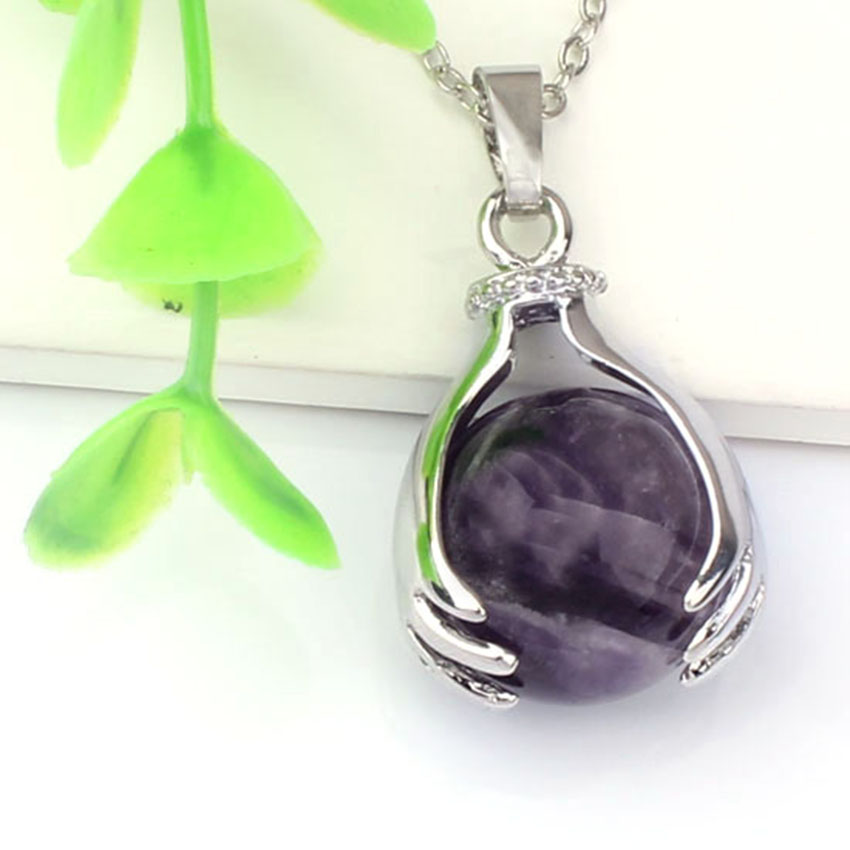 Silver Plated Natural Amethysts Rock Crystal Pendant Hand Hold Round Bead Link Chain Necklace For Women Fashion Jewelry