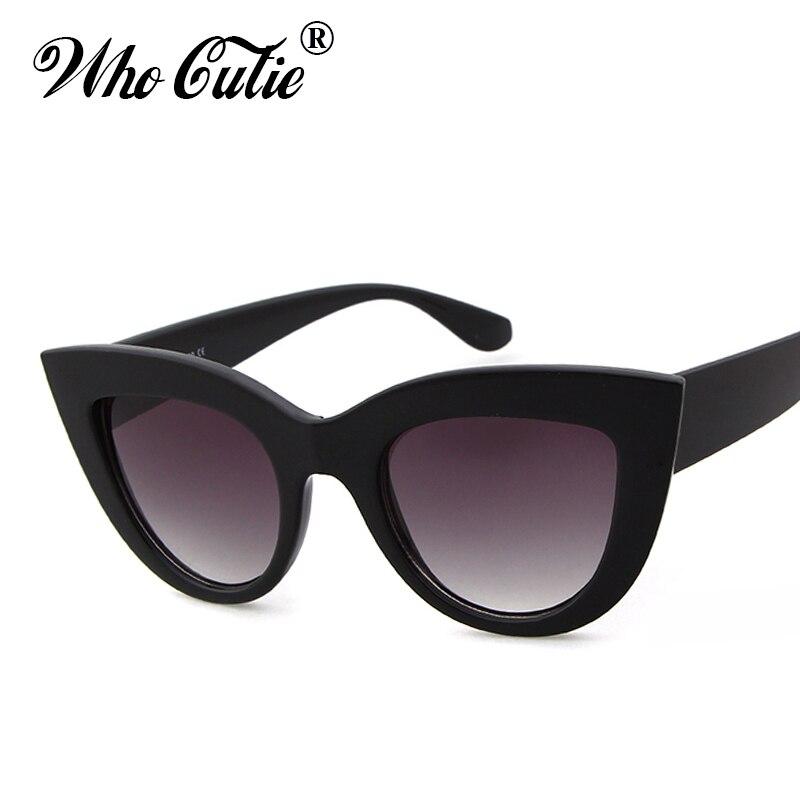 1c7d368727 WHO CUTIE 2018 Oversized Cat Eye Sunglasses Brand Designer Women Vintage  Black Lady Cateye Sun Glasses Shades oculos 347-in Sunglasses from Apparel  ...