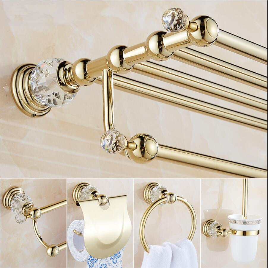 Clear Crystal Bathroom Accessories Sets Silver Polished Gold Towel ...