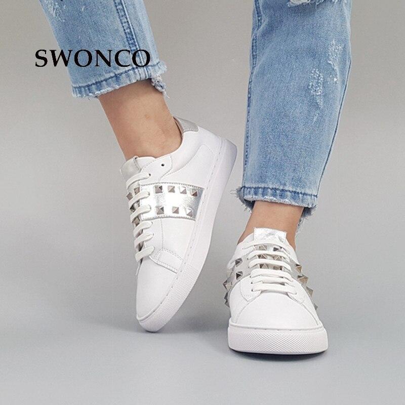 4dea7d6b804d ... SWONCO Women s Shoes Woman Korean Autumn Flat White Women Fashion Shoes  Style Girl Sneakers Leather Shoe ...
