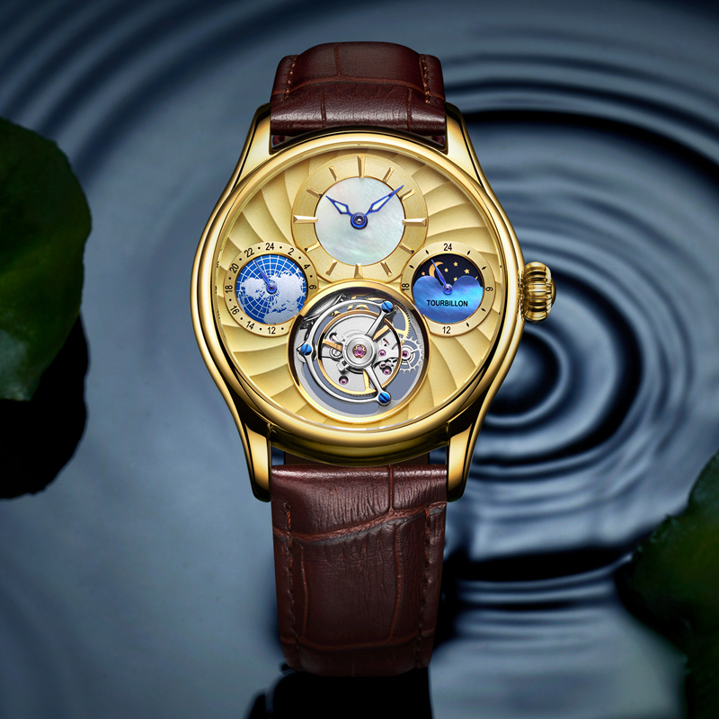 Golden Men Mechanical Watches Original Real Tourbillon Hollow Movement Clock Luminous Pointer Man High-end Watch Moonphase original tourbillon men watch star sky style high quality tourbillon hollow movement 24k vacuum plating men s mechanical watches