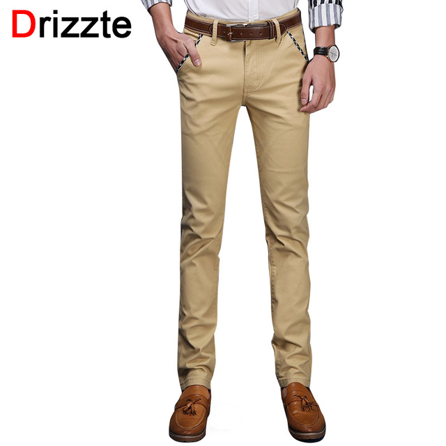 drizzte brand men stretch cotton jeans soft chino pants casual dress trousers size 33 34 36 38. Black Bedroom Furniture Sets. Home Design Ideas