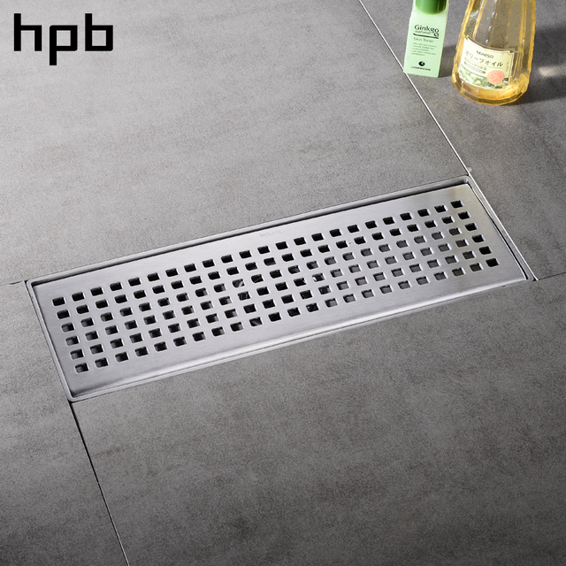 HPB 304 solid stainless steel 300 x 100mm square Floor Drain Grates Waste Linear Tile Insert
