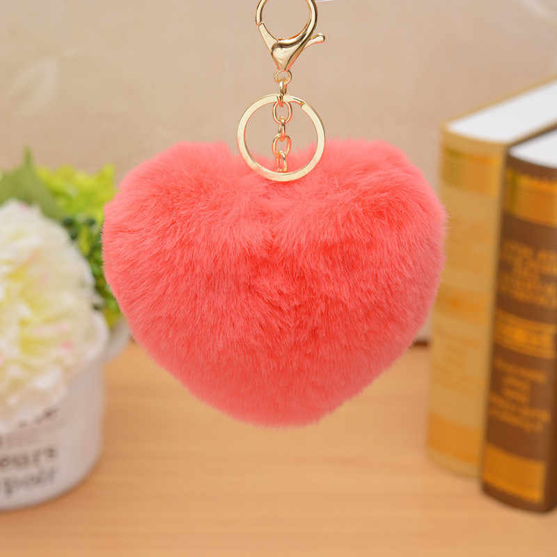 Cute Fluffy Pompom Key Chain Car Bag Pompon Big Heart Style Rabbit Fur Ball Keychain  Key Ring Pom Pom KeyRings Jewelry Women
