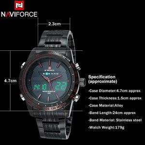 Image 5 - NAVIFORCE üst marka erkek spor İzle erkekler paslanmaz çelik Analog dijital LED saatler reçel tanga saat Relogio Masculino