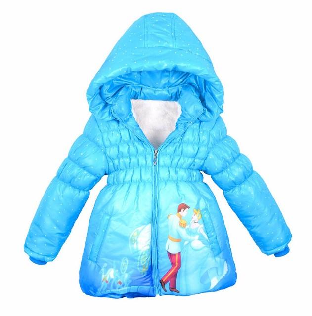 Nuevo Estilo Girls Winter Coats Cotton-padded Abrigos Bebé Niñas Cenicienta Chilren Chaqueta de Invierno Con Capucha Niños prendas de Abrigo Caliente 2016