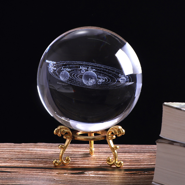 60mm/80mm 3D Solar System Crystal Ball Laser Engraved Globe Miniature Planets Model Glass Sphere Home Decor Gift Ornament