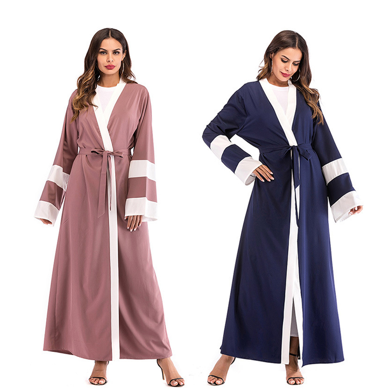 Show details for 2018 Adult Casual Striped Muslim Abaya Dubai Dress With Scarf Cardigan Robes Arab Prayer Worship Service