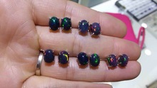Special offer new natural black opal earrings, simple style, 925 sterling silver, hot sale
