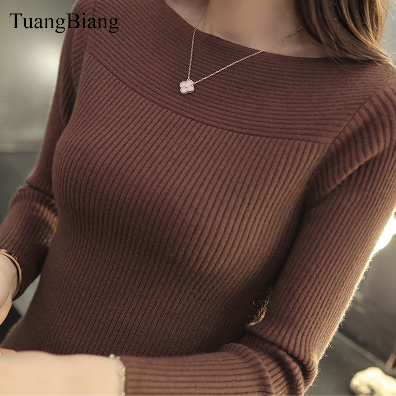 Winter Slash Neck Pullover Ladies Basic Jumper Sweater Knit High Elasticity Long Sleeve Sweater Feminino Solid Color Tops 2019