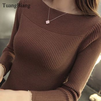 Winter slash neck pullover Ladies Basic Jumper Sweater knit High elasticity Long Sleeve Sweater feminino Solid color Tops 2019 solid ribbed knit roll neck jumper
