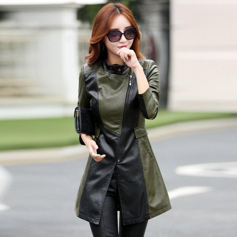 new style Winter Women   Leather   Jacket Fashion Slim Patchwork Long Female Jacket High Quality PU Motorcycle Coat Plus Size M-4XL