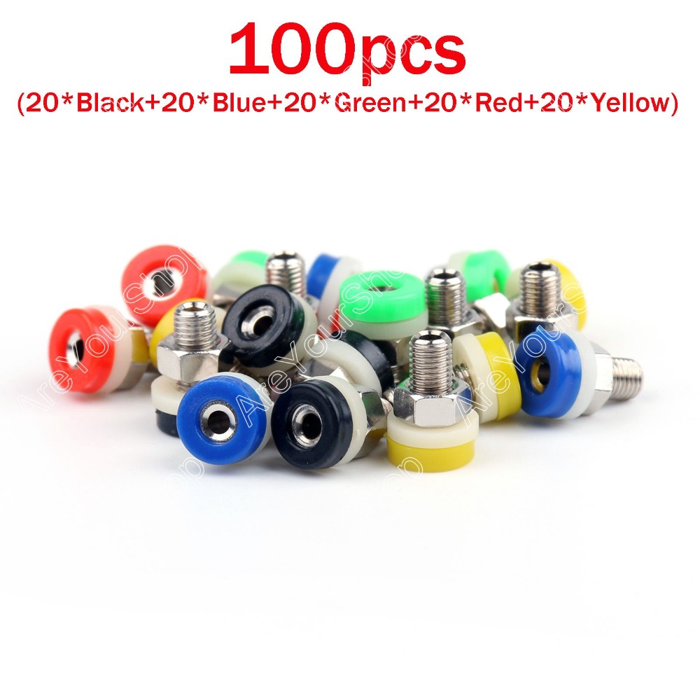 Areyourshop Hot Sale 100 Pcs 5 Color Brass 2mm Banana Socket Jack for 2mm Banana Plug Test