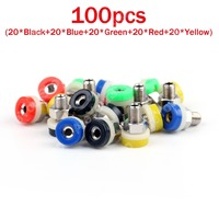 Hot Sale 100 Pcs 5 Color Brass 2mm Banana Socket Jack For 2mm Banana Plug Test