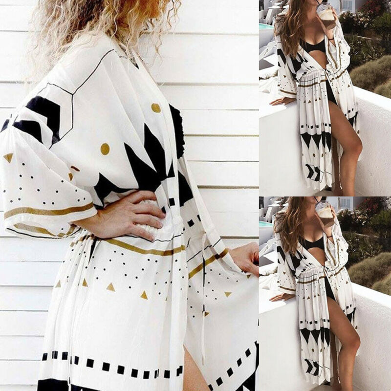 Fashion Women Boho Floral Loose Shawl Kimono Cardigan Top Long Sleeve Casual Beach Cover Up Blouse