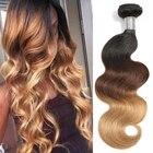 Ombre Brazilian Hair Bundles 1B/4/27 Non Remy Body Wave Weaving Natural Human Hair Weave Bundles 3PC Extension Lumiere Hair
